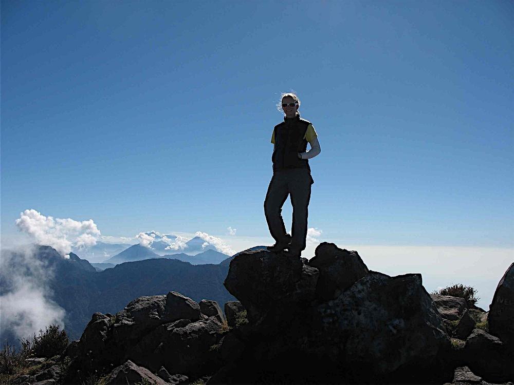 Emily on the summit of Santa Maria Volcano in Guatemala