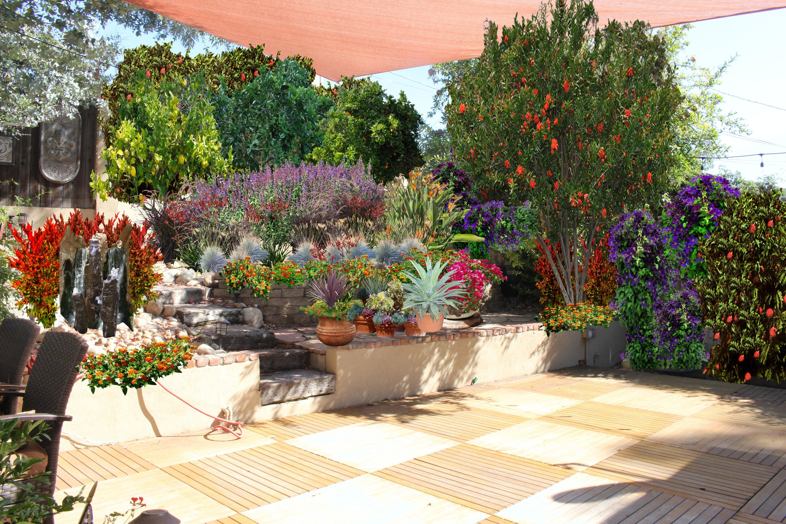 Back Yard, Design Rendering San Clemente, CA