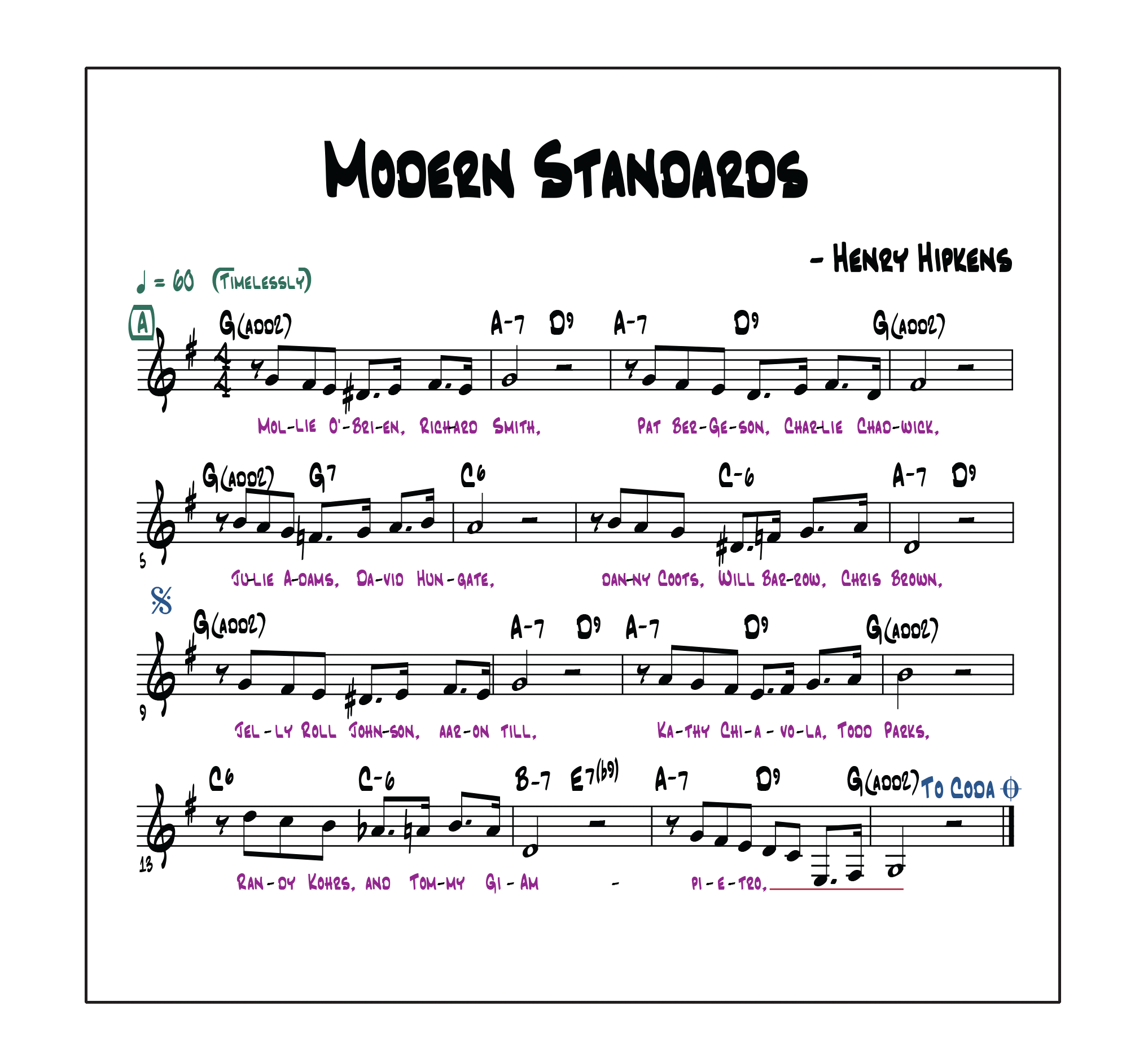 CLICK FOR AUDIO, CHARTS AND LYRICS FROM MODERN STANDARDS