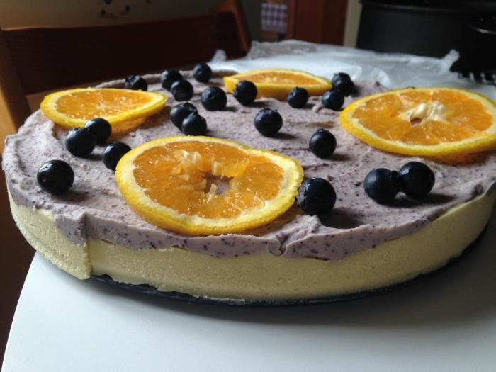 Vegan Orange and Blueberry Cheesecake made from cashews