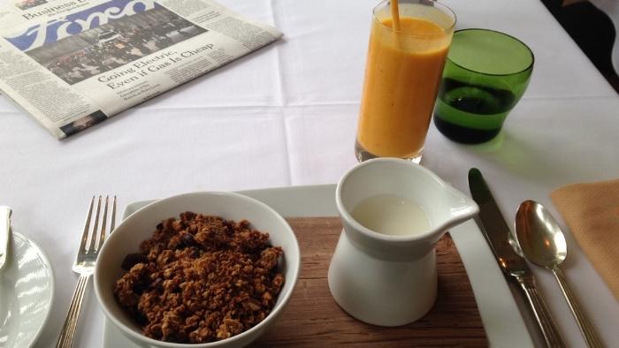 Granola, milk, and yogurt.