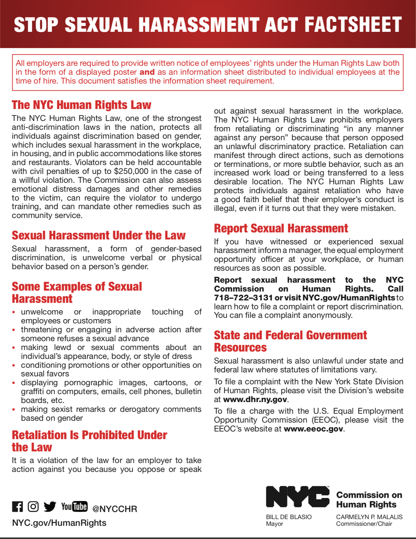 Sexual Harassment Fact Sheet - click here to print Fact sheet.