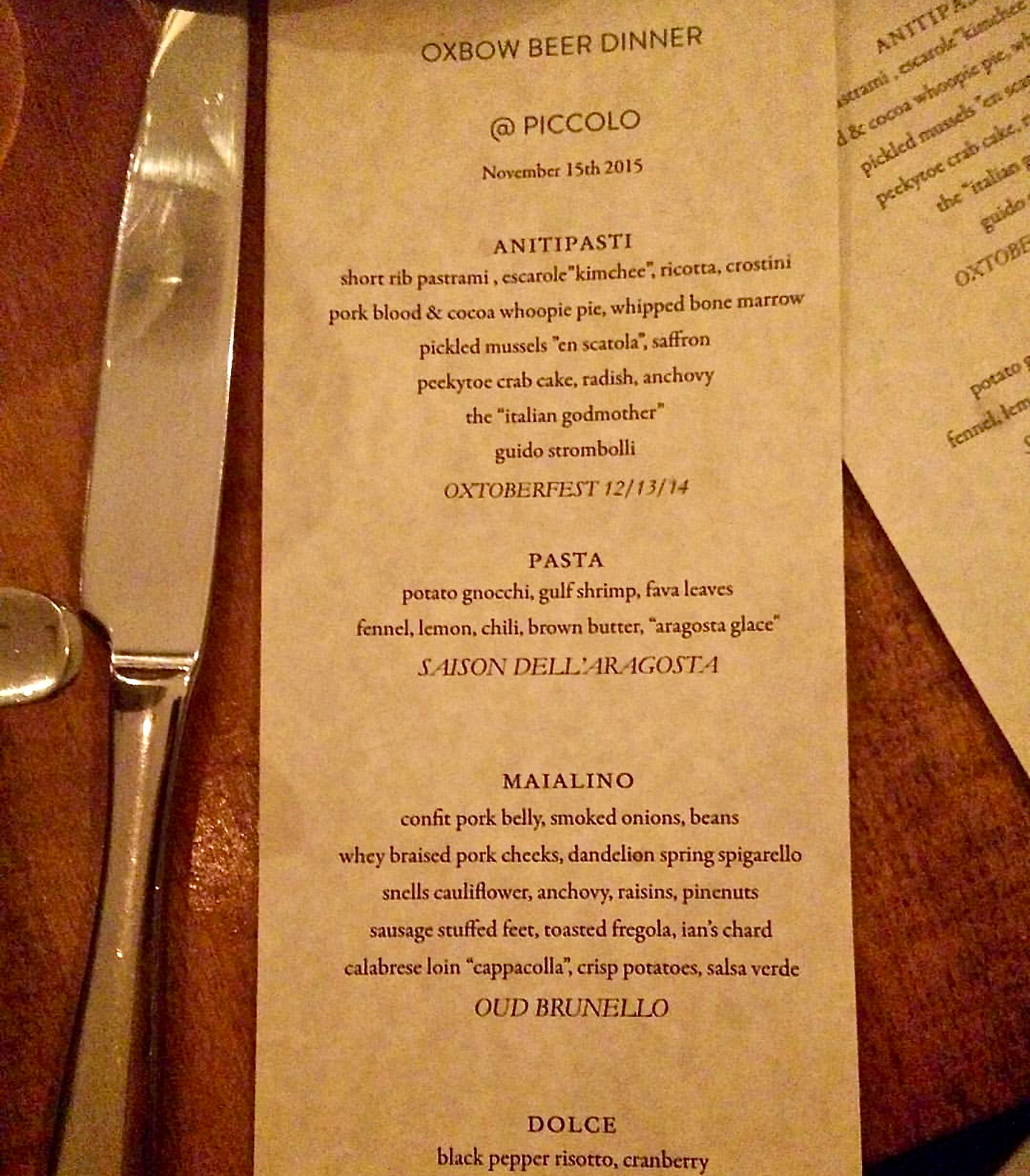 Sample menu from 2015's Oxbow Beer Dinner at Piccolo.