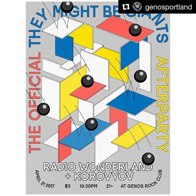 #Repost @genosportland Not to put too fine a point on it... ・・・ Saturday 04.21.18. The official @they_might_be_giants afterparty: join us after the sold-out State Theatre TMBG show for the innovative electronics of Joshua Fried as @radiowonderland - alongside Portland's accordion-laden rock, Korovyov | 10:30PM | $5 | 21+ | Artwork by Andrew Scripter. . . #portlandmainemusic #genosportland #genosrockclub #joshuafried #radiowonderland #korovyov #theymightbegiants #theymightbegiantsconcert