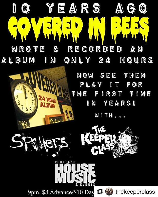 #Repost @thekeeperclass ・・・ This one is going be so much fun!So stoked to get to play with @coveredinbeesme and our dudes #spillers!! Do NOT miss this show!! Saturday 6.30 9pm 21+ $8 advanced $10 at the door.
