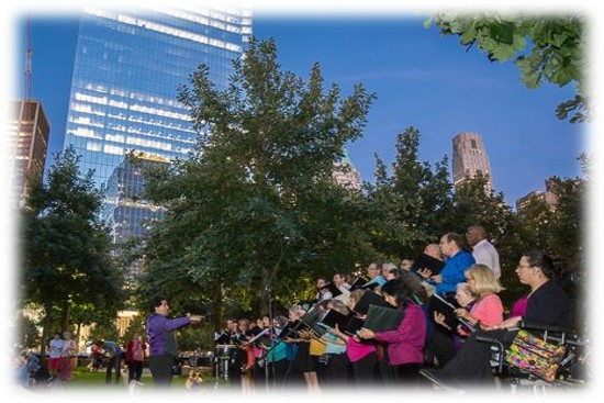 Peace of Heart Choir performs outside the September 11th Memorial, September 2011; photo by Barbara Alper