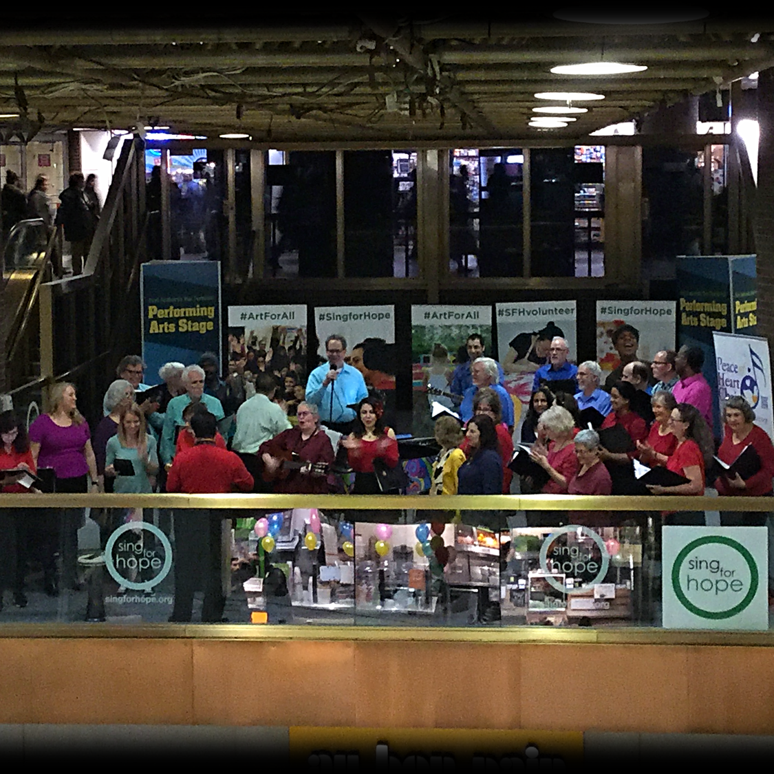 The choir on the Sing for Hope stage at the Port Authority
