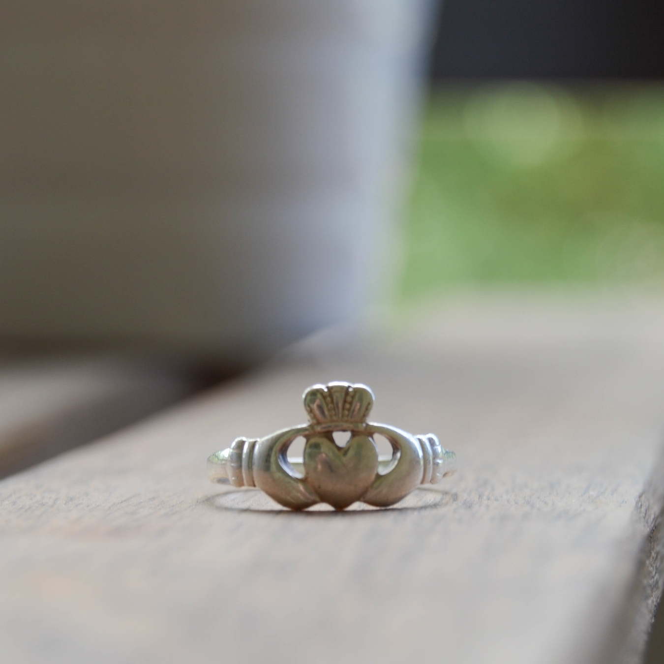 My (now worn and warped) Claddagh ring.