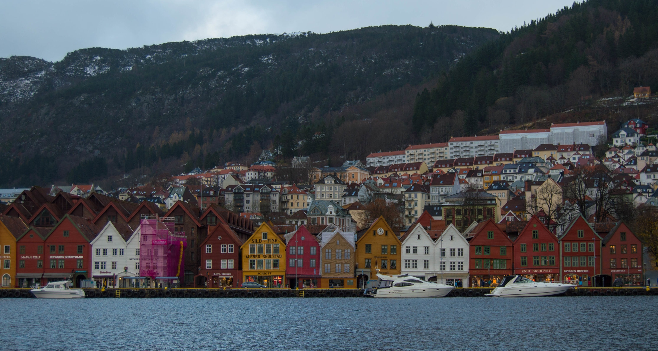 Colorful wooden houses of  Bryggen , Bergen's old wharf.