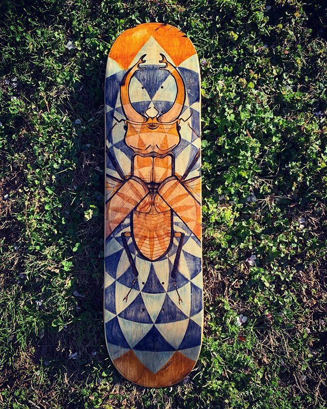 Beetle board! All ink & stain.  Back in April, I painted and sold my first skateboard deck at an art show at @dogtownefranks. Many thanks to @fisbn for arranging this opportunity for local artists. Grateful for the push to create something out of my comfort zone.