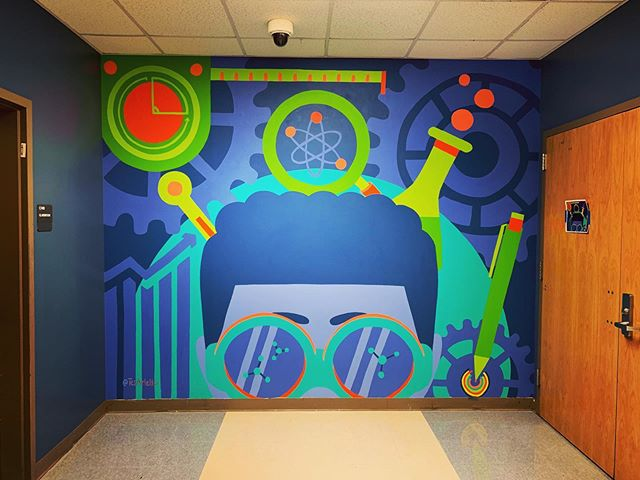 STE[A]M mural for B.E.S.T. Academy. Passion pieces like this are always a favorite for me because I believe in the cause. It was such a privilege to partner with @learningincolor to create this piece and bring some energy and color into the halls of this school.