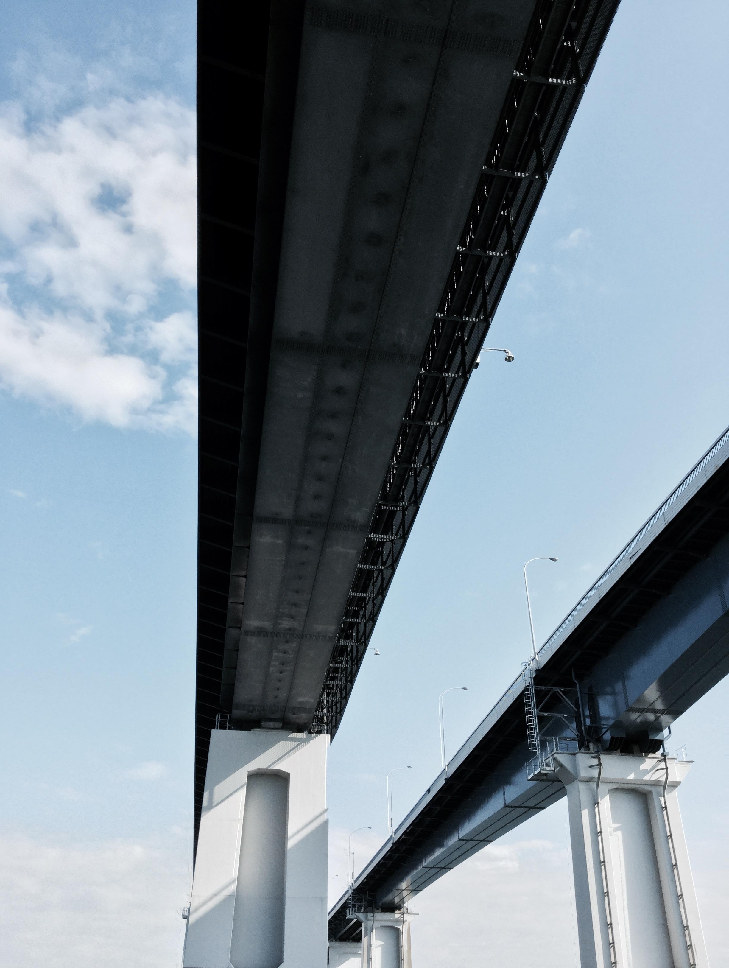 Dwarfed by  Biwako's 'Ohashi toll bridges'.