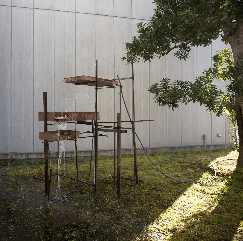 'Waterfall, Bonsai Sculpture'. Steel, MDF, Water.