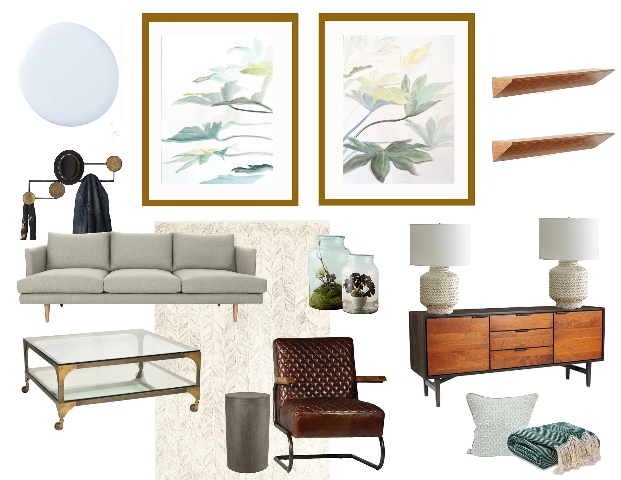 Paint  / Coat Rack  /  Sofa  /  Coffee Table  /  Rug  /  Glass Jars  /  Leather Chair  /  Pedestal  /  Console  /  Pillow  /  Lamp  /  Shelf / Throw