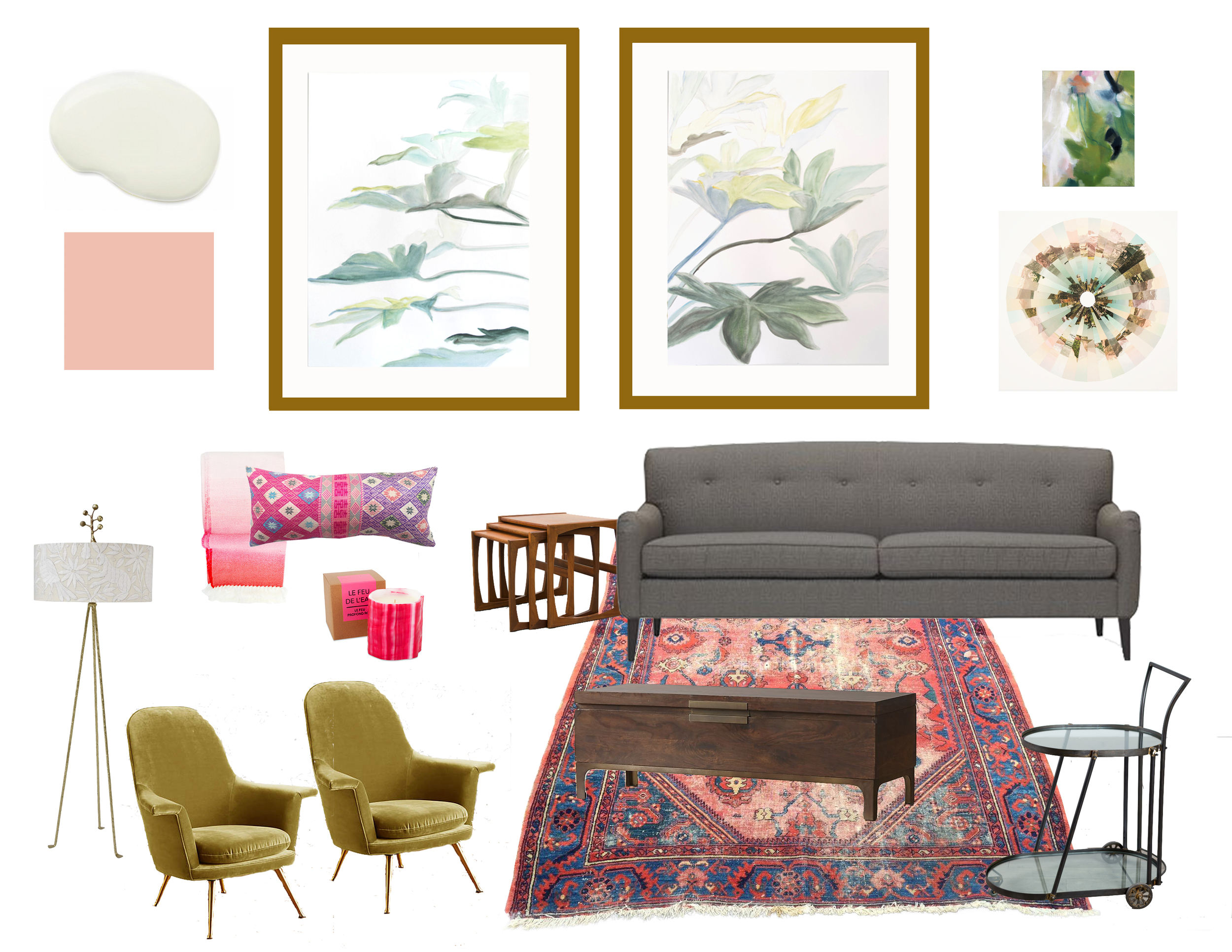 Sofa  /  Chairs  /  Trunk  /  Nesting Tables  /  Bar Cart  /  Rug  /  Lamp  /  Pillow  /  Throw  /  Candle  /  Small Painting  /  Photo Collage  /  Neutral Paint  /  Coral Paint /  My Art