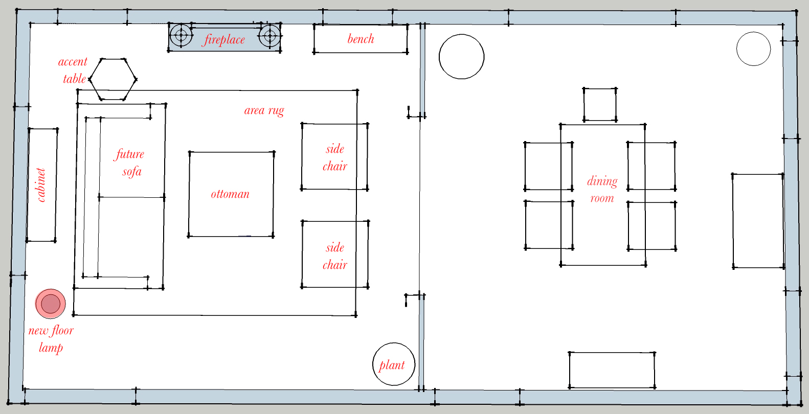 Everything that is marked is existing, but I did mark where she will add a floor lamp in the future.