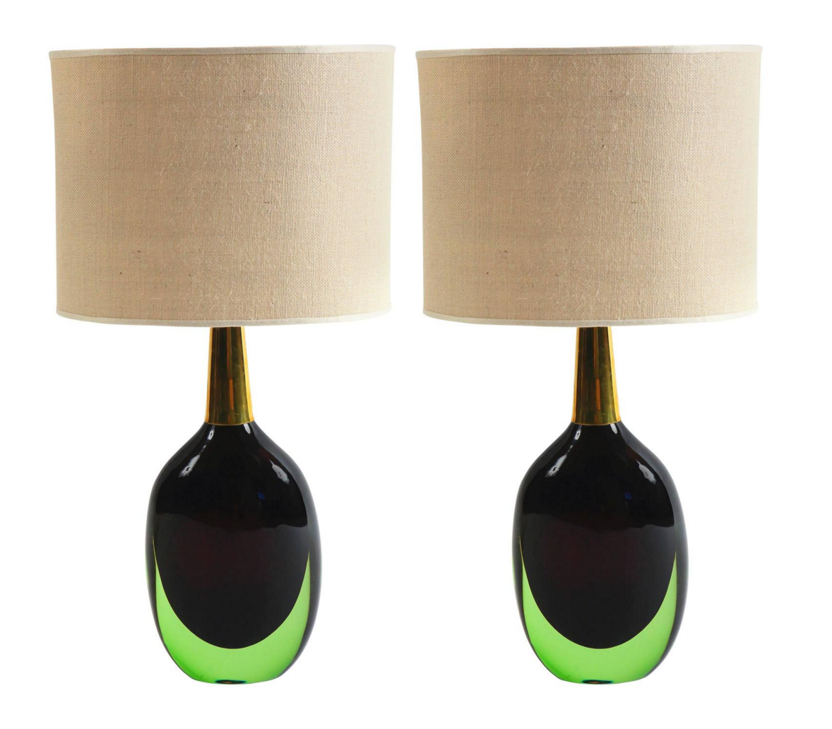 Pair of Seguso Murrano Glass Signed Table Lamps, 1950's