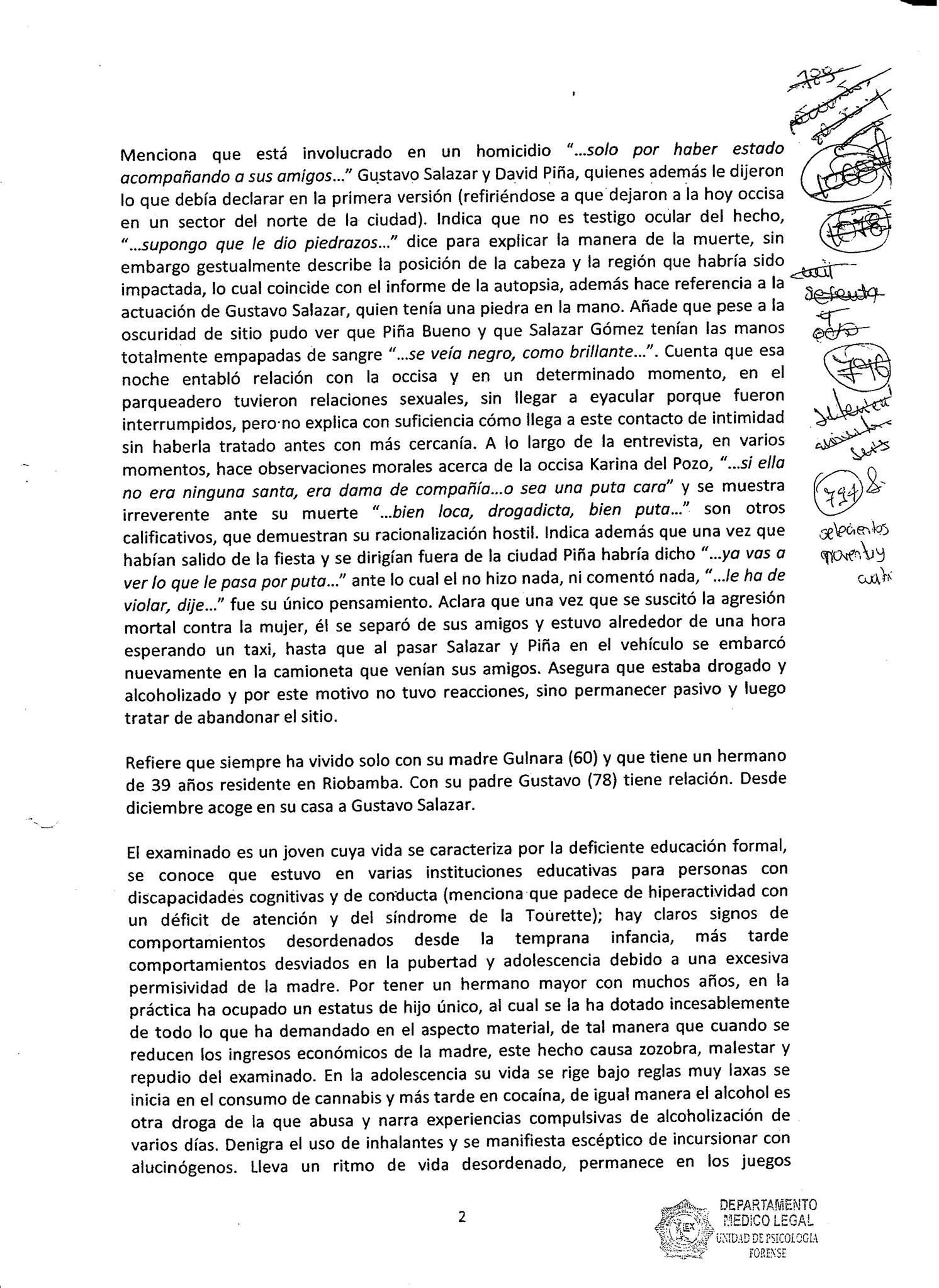 Informe psicológico forense Hoja 2