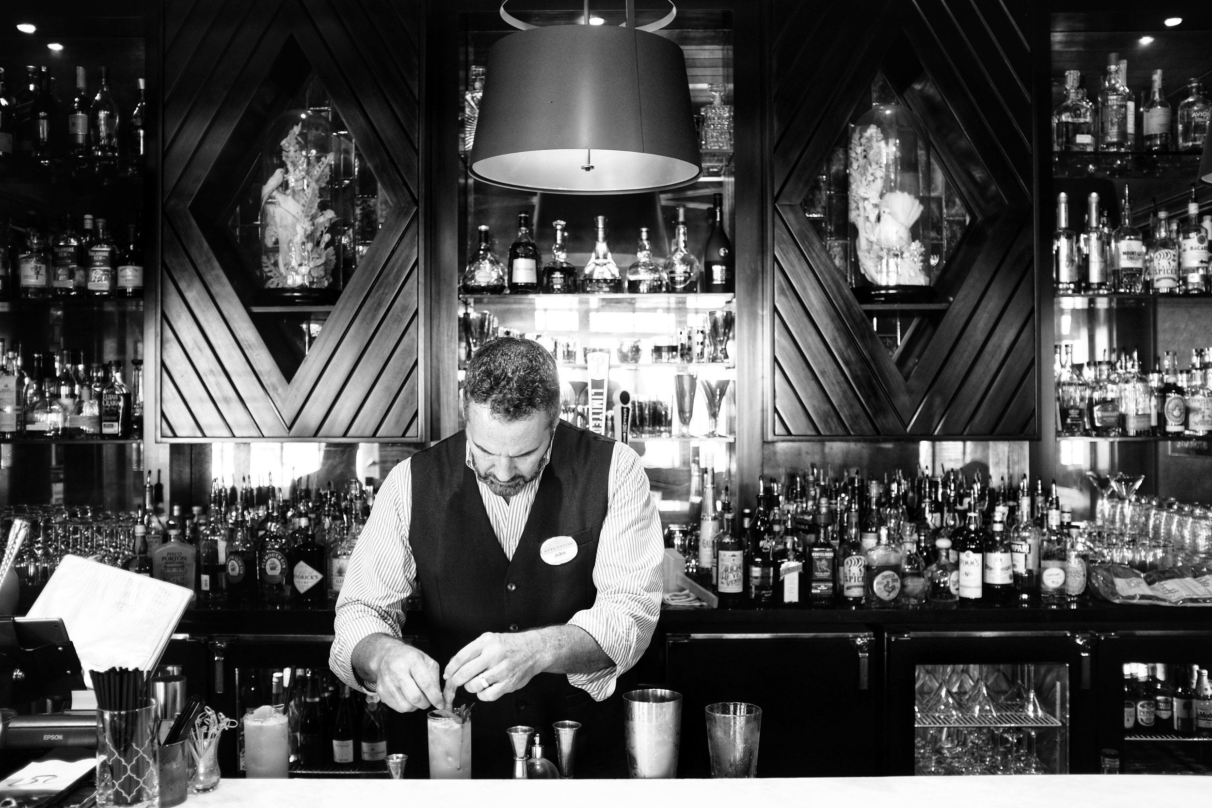 making cocktails in the spectator hotel