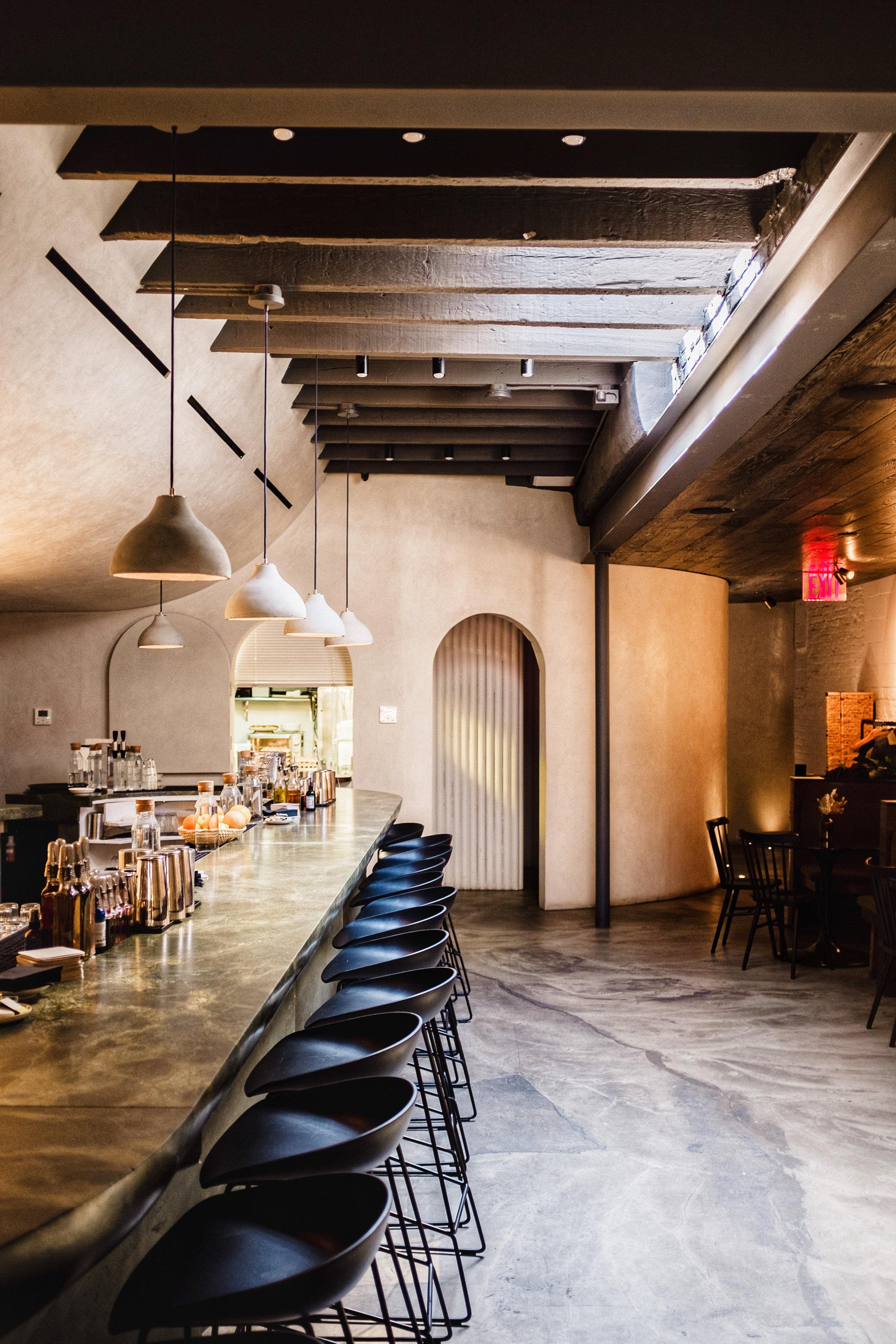 bar decor at bar beau