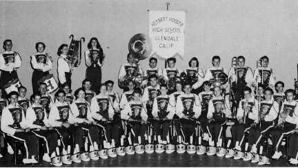 Hoover band directed by Richard Schieberl when it marched in the Rose Bowl, Tournament of Roses Parade and at Disneyland. Photo appeared in the 1956 Scroll, Hoover's yearbook. (Courtesy Special Collections, Glendale Public Library)