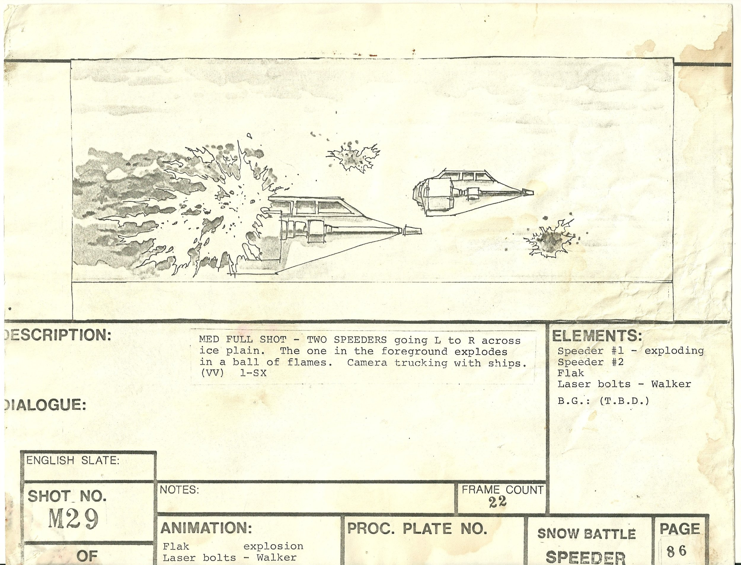 More action from the Hoth battlefield in this storyboard from THE EMPIRE STRIKES BACK- The Christopher Corey Smith Collection