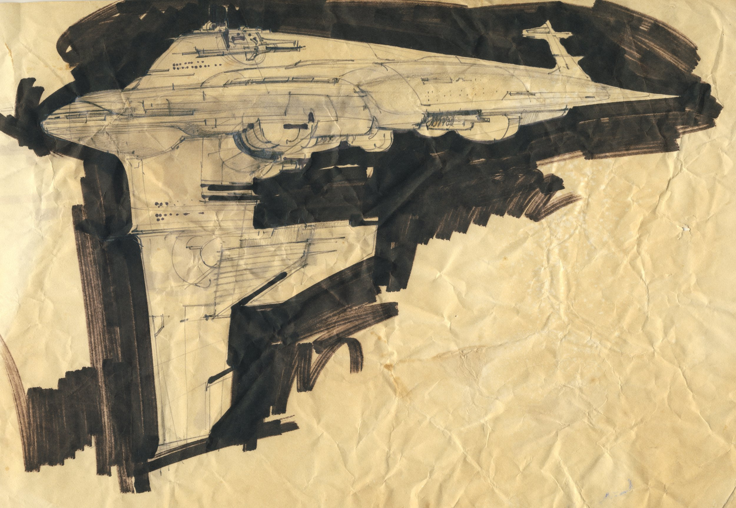 Concept art of a Rebel Medical Frigate, possibly sketched by ILM's Joe Johnson- The Christopher Corey Smith Collection UPDATE: Paul Bateman informs us that this art is mostly likely the work of Nilo Rodis-Jamero.