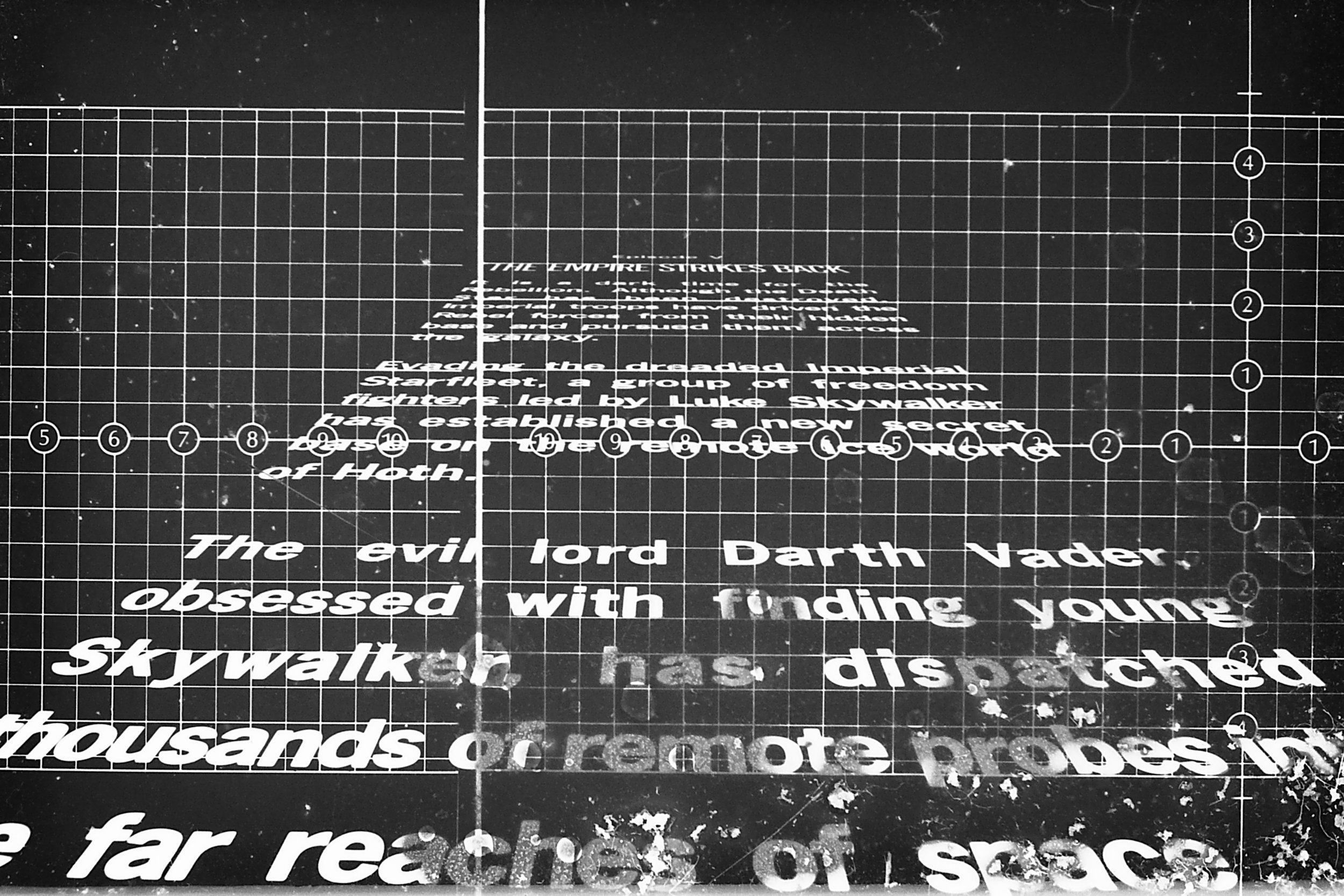 Laying out the famous Episode V crawl on graph paper before laying it out for the camera- The Christopher Corey Smith Collection