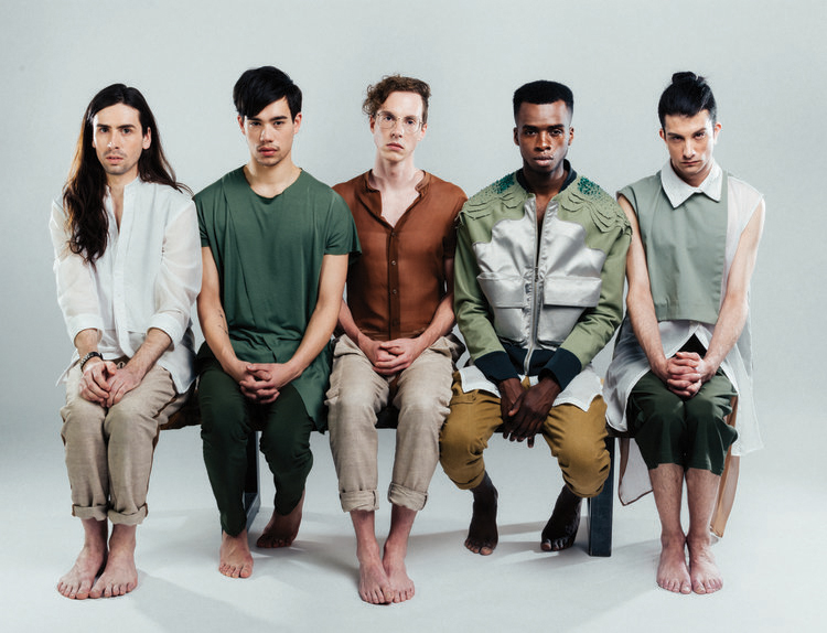 Designers in order from left to right, Alys Mak-Pilsworth, Michael Zoffranieri, Curtis Oland, Charlotte Tsui, Nina Boschman.  Models: Stephen, Graham, Beau, Tyshon, Ty  Photographer: Ash Jaromi  Creative Direction and Styling: Curtis Oland
