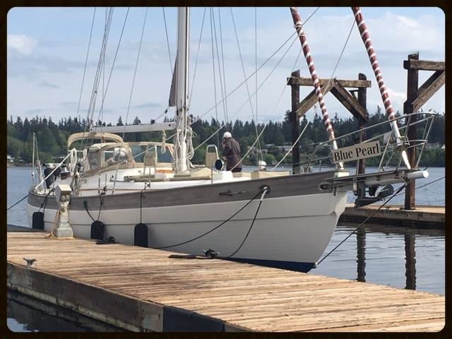 """Blue Pearl"" tied up at the dock, eagle harbor, bainbridge island, wa"