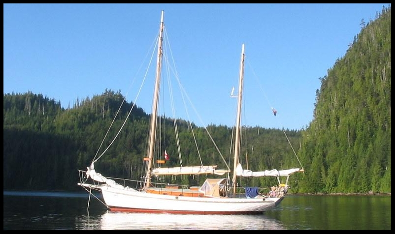 A heavily built Ralph WInslow design, shipwright owned ketch, lying Bainbridge Island, WA - constructed of Port orford cedar in coos bay, Oregon by kelly Bros Yard.
