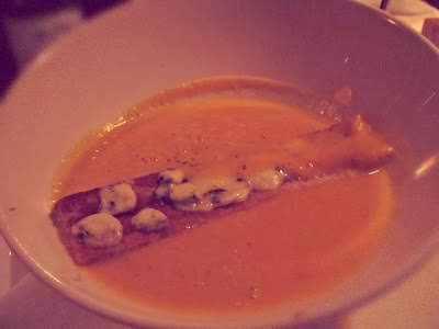 PUMPKIN SOUP WITH GREEN APPLE COMPOTE AND BLUE CHEESE TOAST