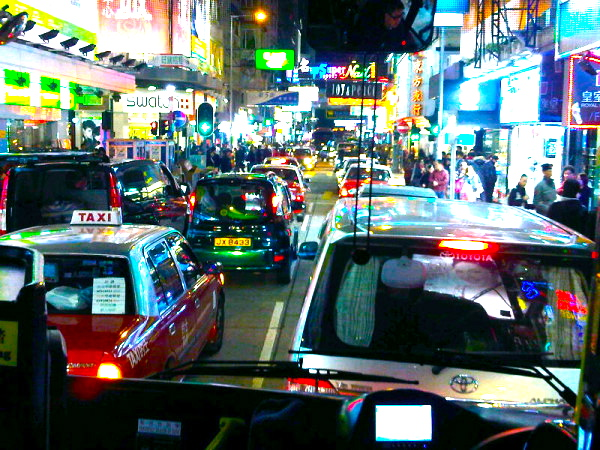 DRIVING FROM THE AIRPORT INTO TSIM SHA TSUI AT NIGHT