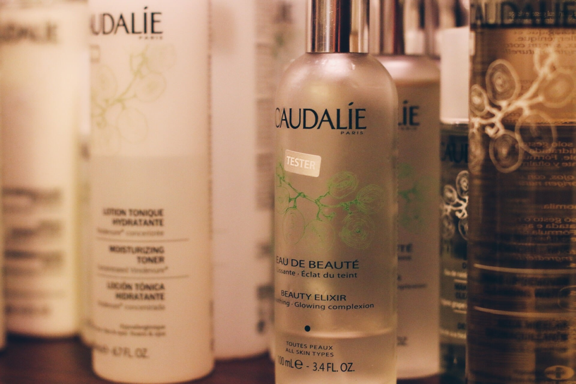 CAUDALIE'S MAGICAL BEAUTY ELIXIR.I WANT THIS MISTED ON MY FACE 24/7. MADE OF GRAPE, ORANGE BLOSSOM, ROSE, ORGANIC BALM MINT, ROSEMARY, MYRRH AND BENZOIN.