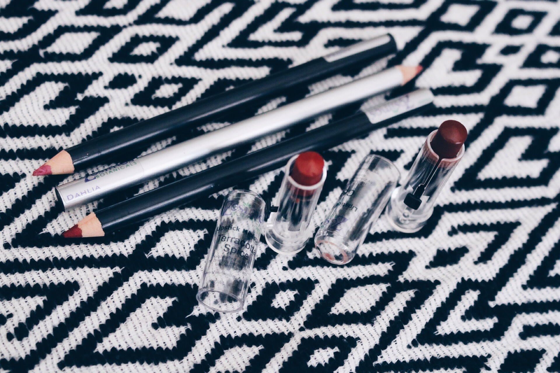 """ZOSIMOS BOTANICALS   LIP LINER (TOP-BOTTOM) IN """"PEONY,"""" """"DAHLIA,"""" AND """"GARNET,"""" AND LIPSTICK (L-R) IN """"TERRACOTTA SPICE"""" AND """"COCOA"""""""