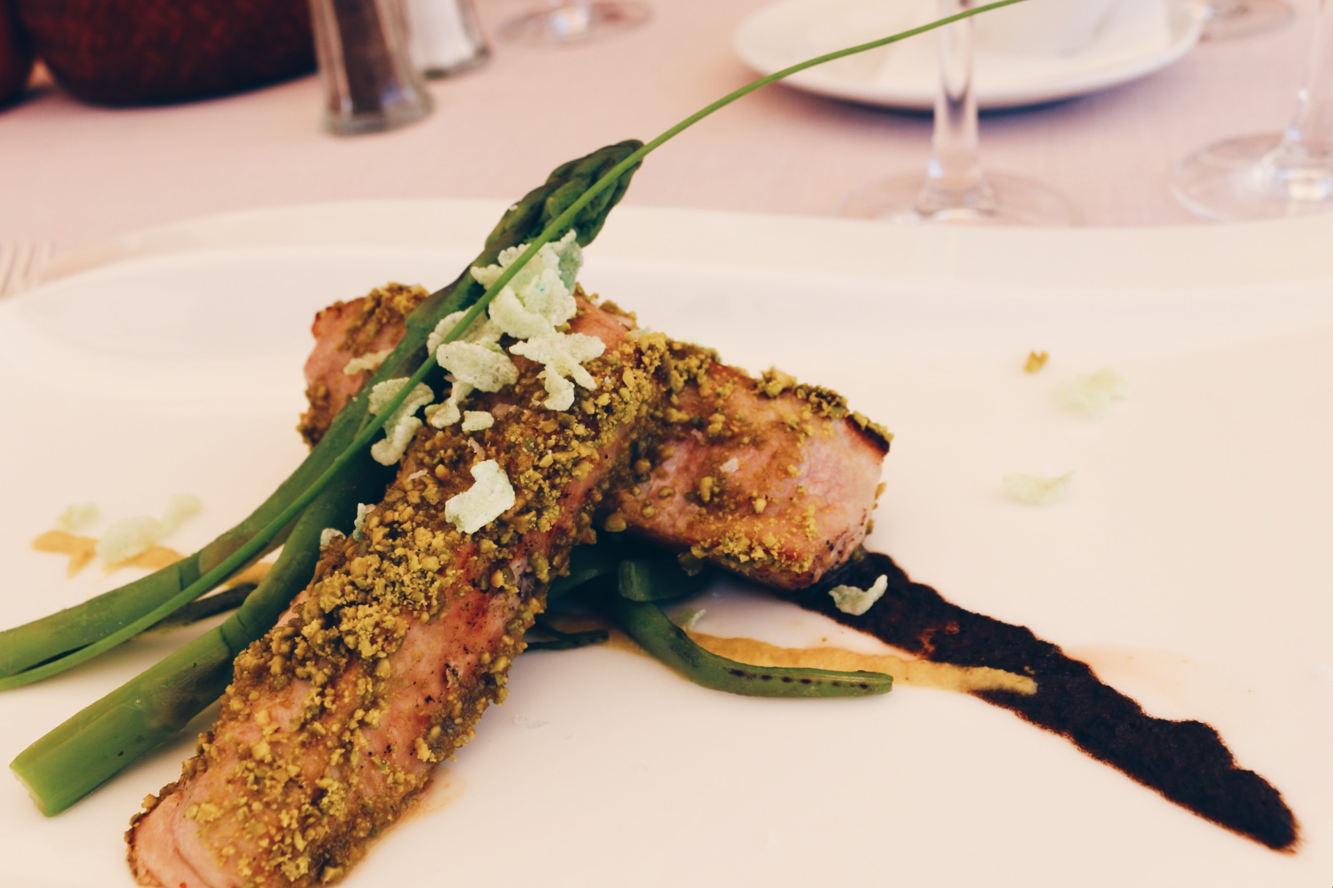 MEAT TIME. VEAL WITH ROASTED PISTACHIOS,OLIVE TAPENADE AND PESTO