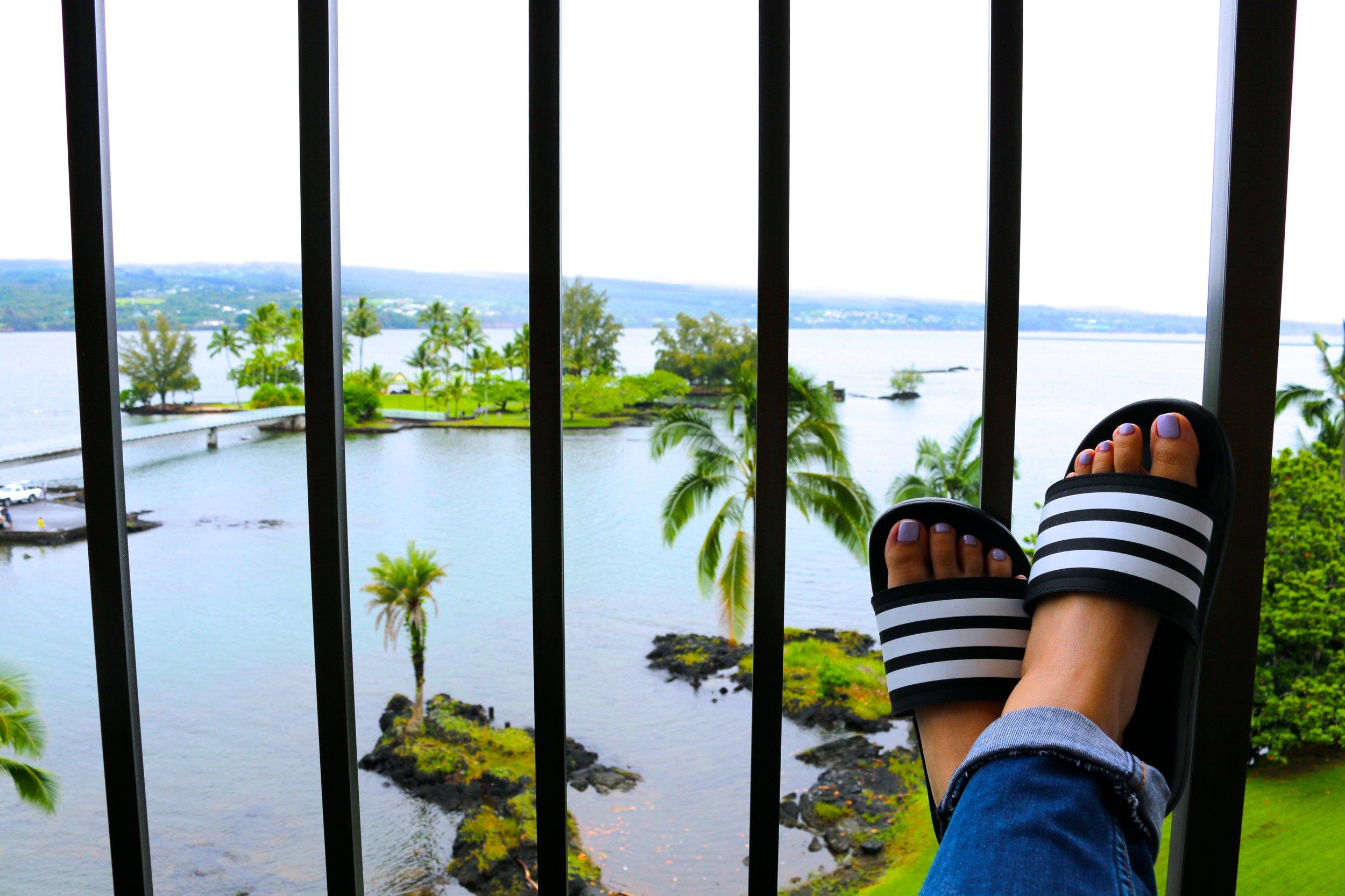 VIEWS OF COCONUT ISLAND/THE PACIFIC OCEAN/MAUNAKEA FROM MY BALCONY AT  HILO HAWAIIAN HOTEL.