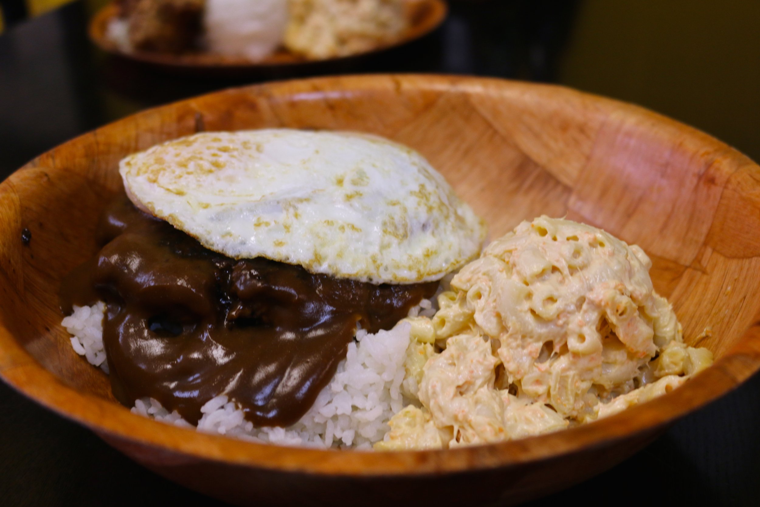LOCO MOCO - UNDER THAT GRAVY IS A BURGER PATTY, TOPPED WITH A SUNNYSIDE EGG AND OF COURSE, MORE OF MY FAVE, MAC SALAD