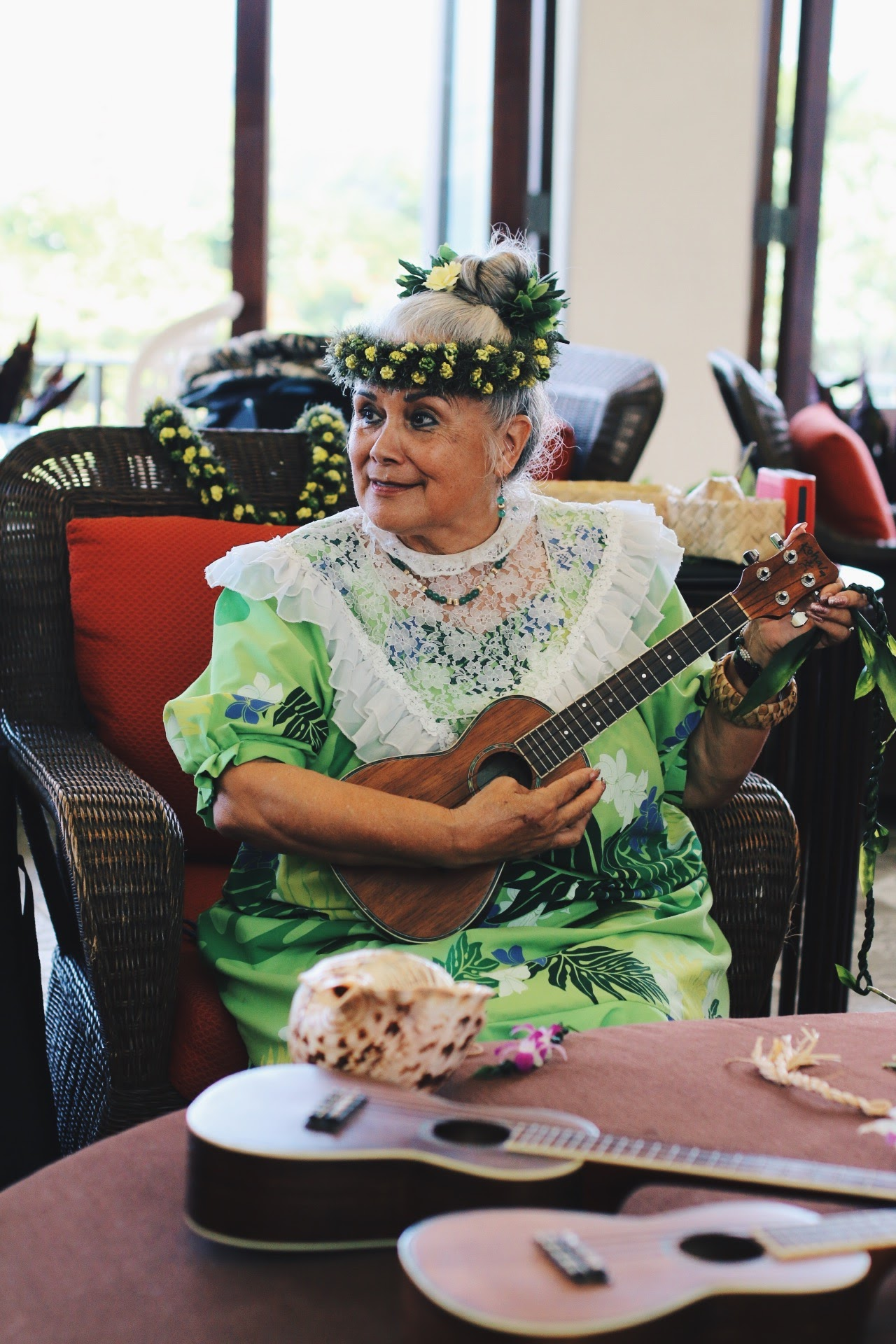 AUNTY TUTU'S SPECIAL/COMPLIMENTARY LEI MAKING AND UKULELE LESSONS AT  SHERATON KONA