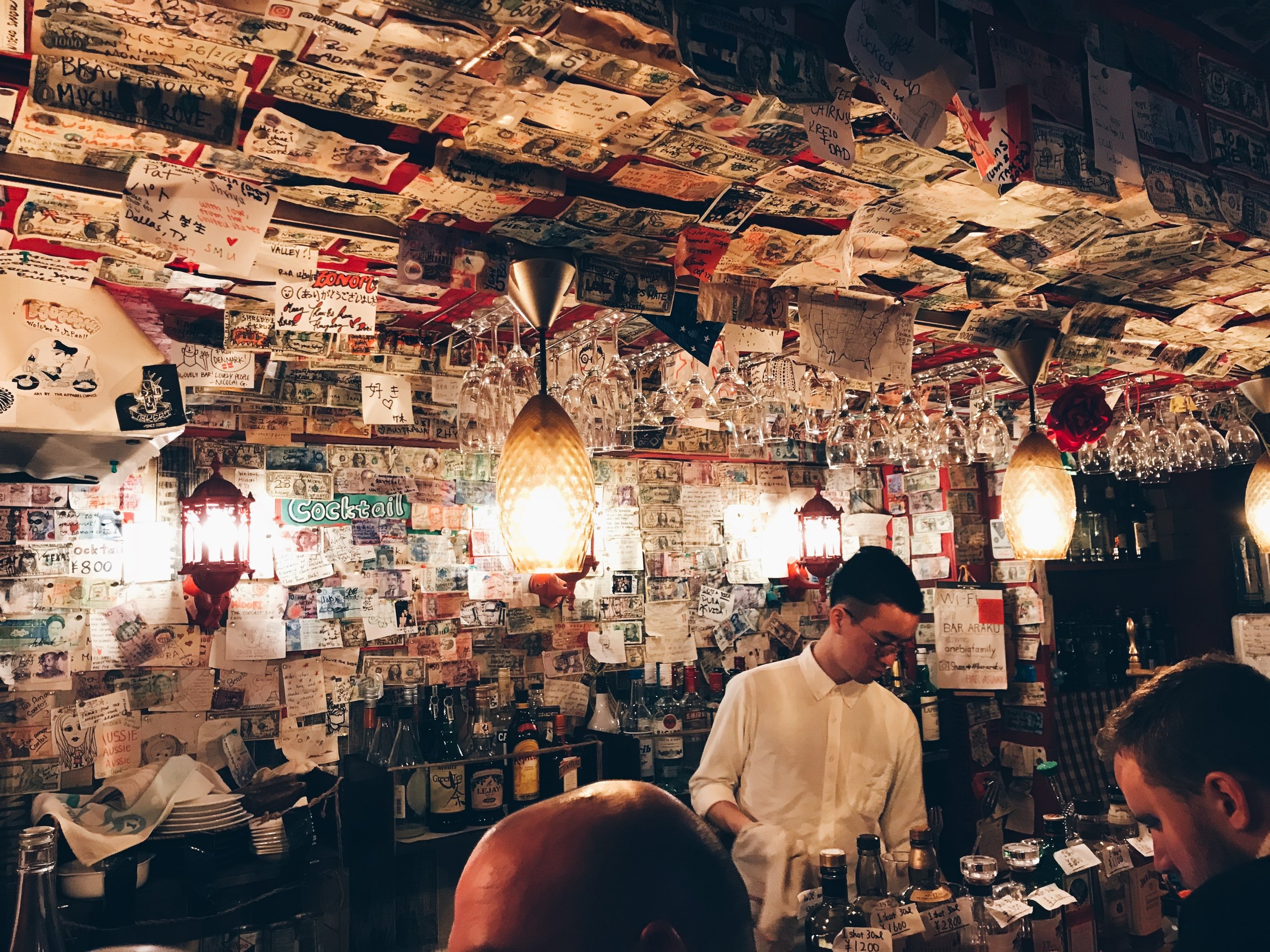 A tiny bar in  Golden Gai  (another one of those alleyways in Shinjuku) that I can't remember the name of