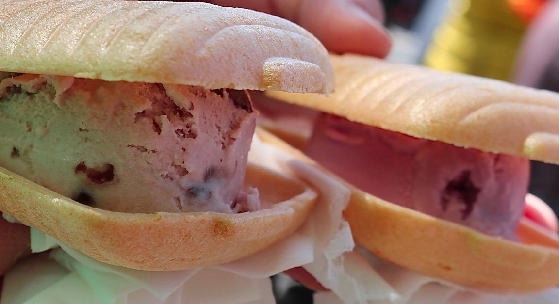 Red bean and ube ice cream burgers