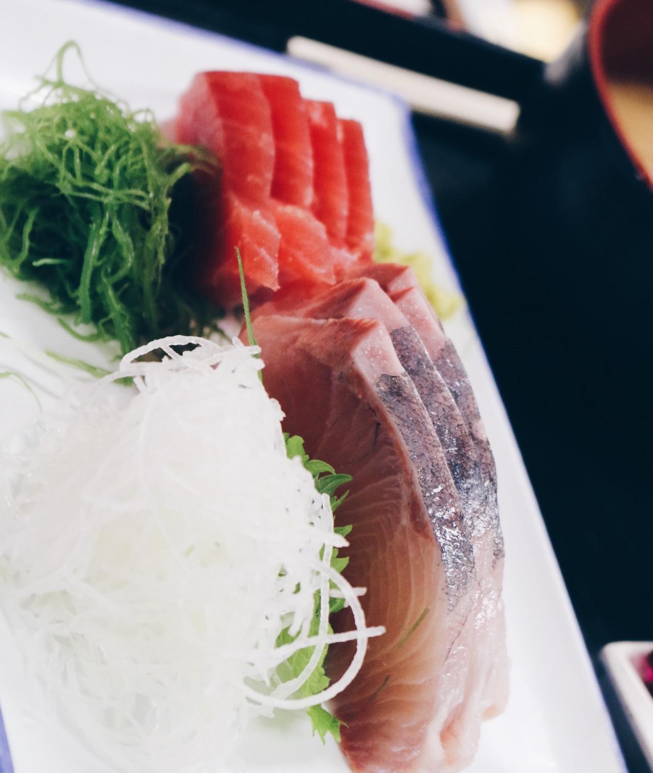 Yellowtail and tuna sashimi. Melt in yo mouth.