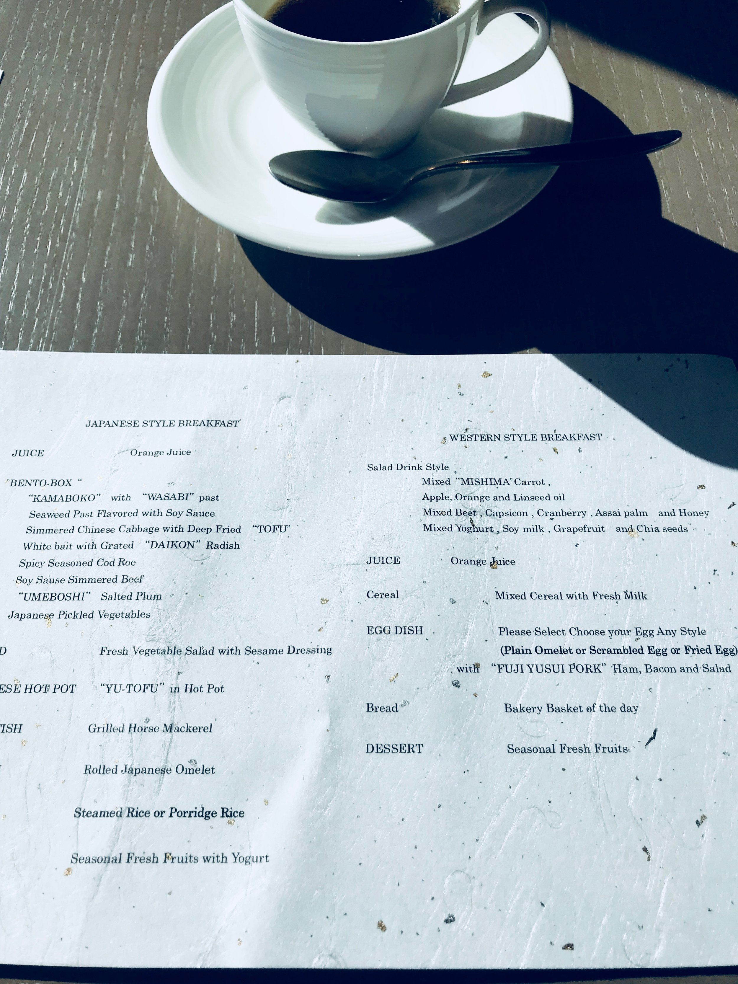Breakfast menu at Tenyu Restaurant
