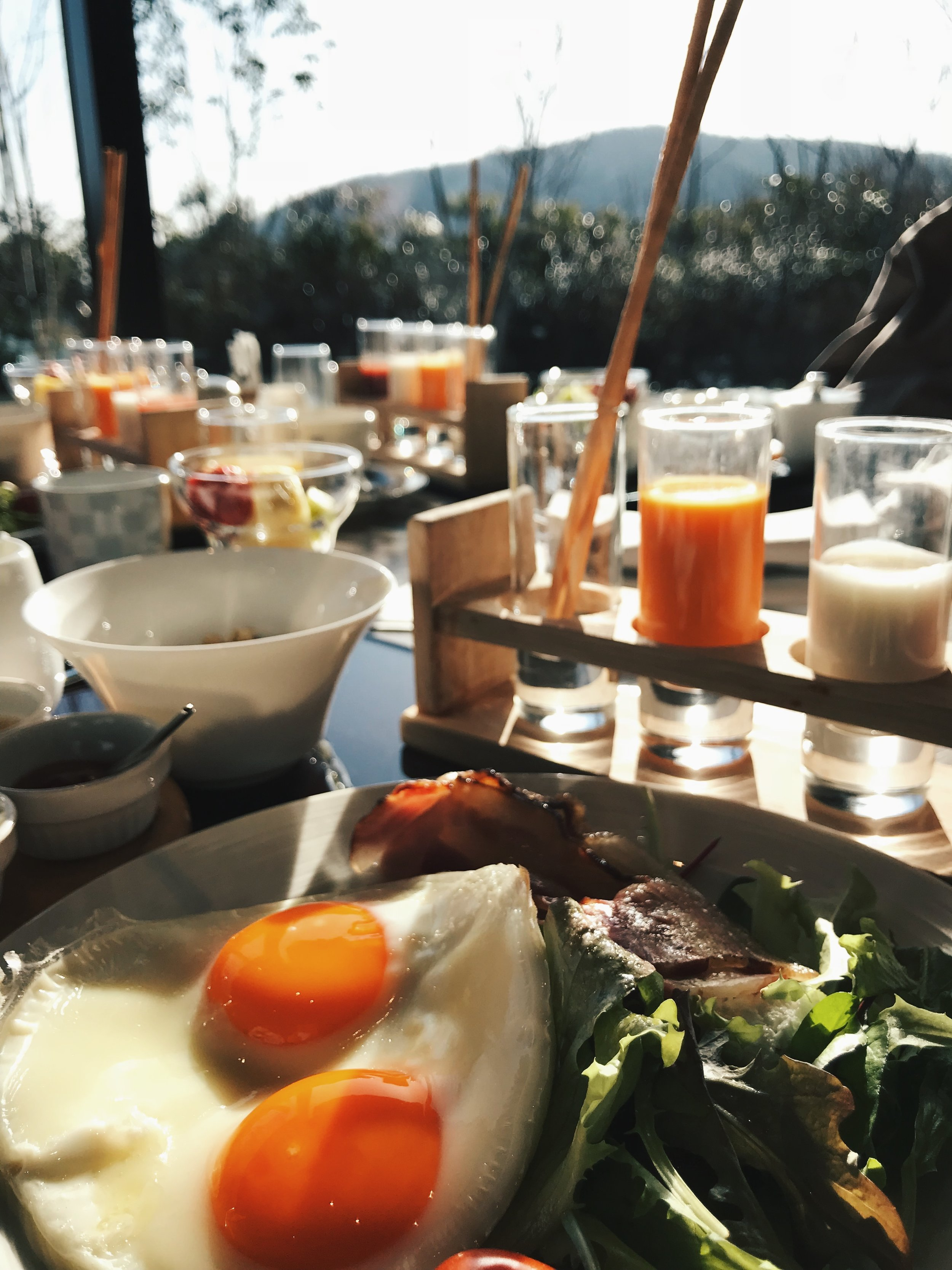 Western breakfast spread with a view