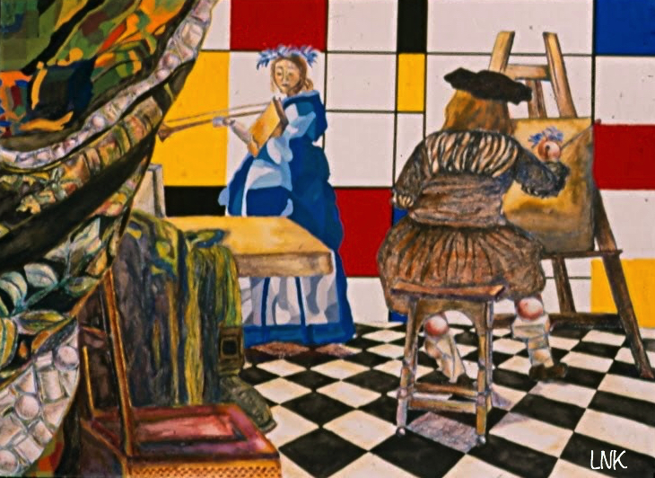 Reduction from Vermeer to Mondrian.  Lindsey High School Painting '02.