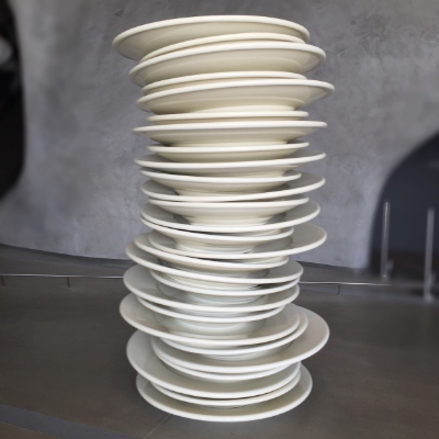 Stack of Plates at the Broad by artist Robert Therrien