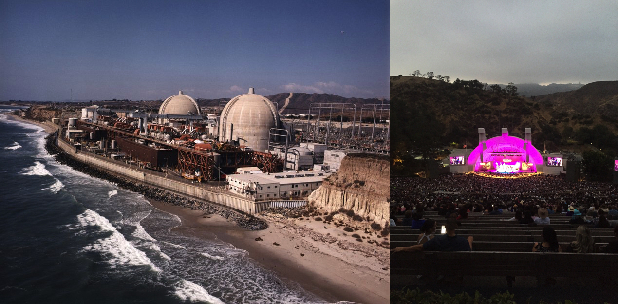 Left: San Onofre Nuclear Power Plant Image by KPBS, Right: Hollywood Bowl