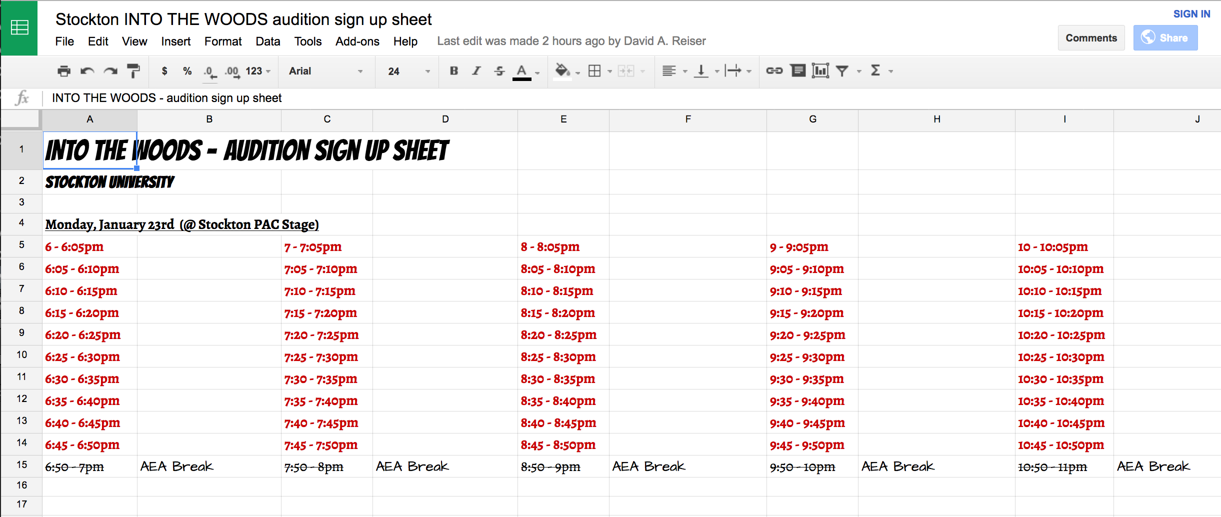 Sign up for an audition time here (via Google doc)