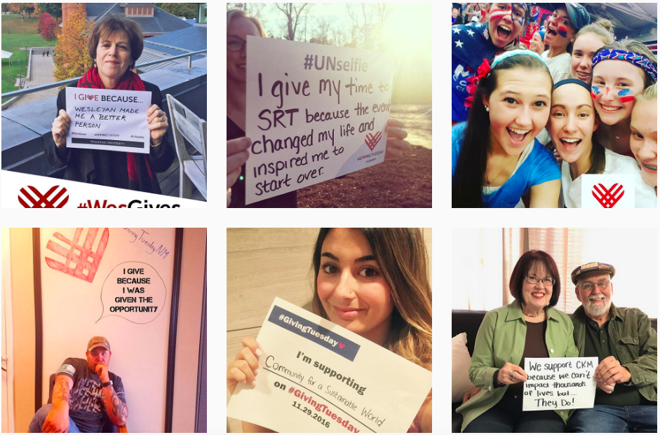 Photos detailing numerous #GivingTuesday causes from Instagram; bottom middle photo via  @communityforasustainableworld