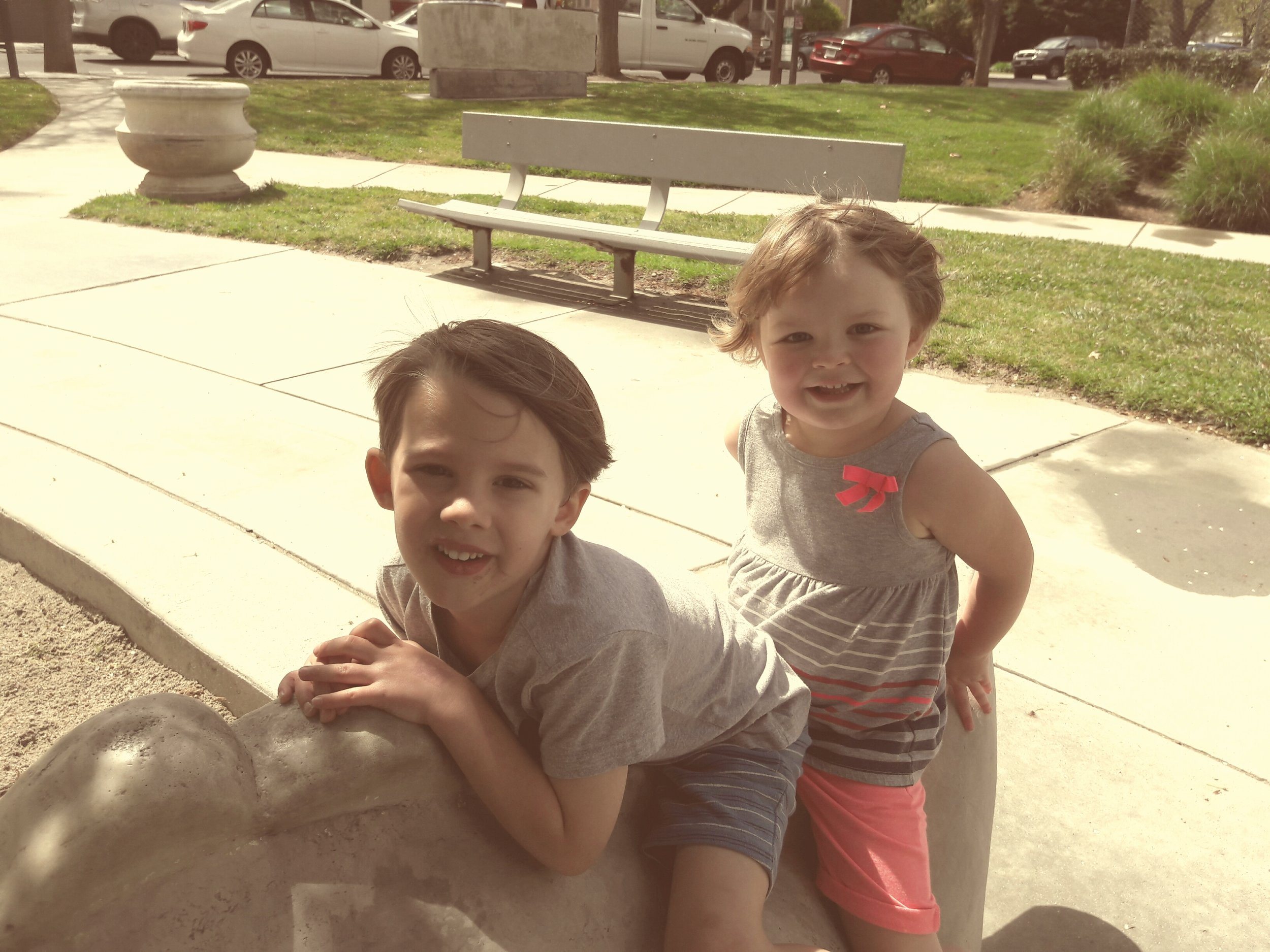 """Little girl ask, """"Can I play with you?"""" """"Yes!"""" What joy bringing words! Off they went to have a great time together."""